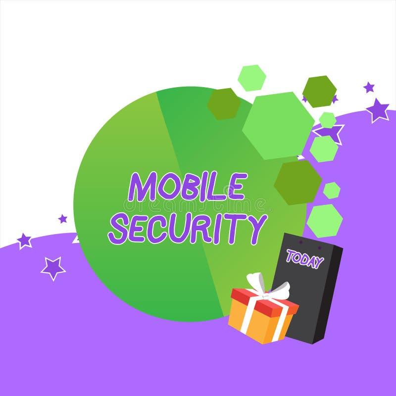 手写文本流动安全 意味手机的保护的概念免受招呼的威胁和的弱点 皇族释放例证