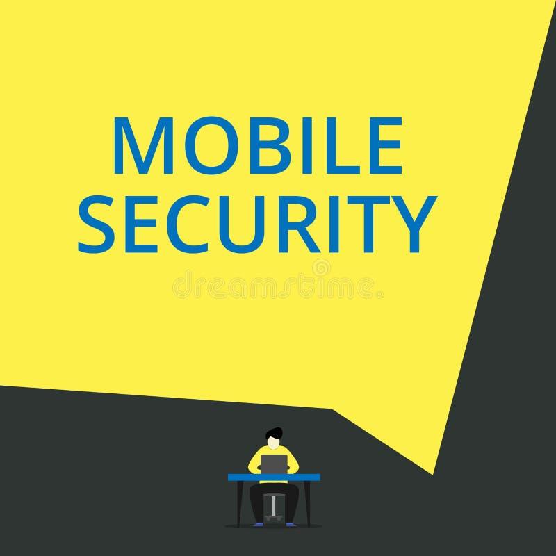 手写文本流动安全 概念意味手机的保护的免受威胁和弱点观看年轻 向量例证