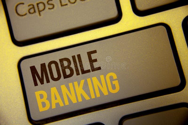 手写文本流动银行业务 意味网上现款支付和交易真正银行的概念发短信给书面的两个词Comput 库存图片