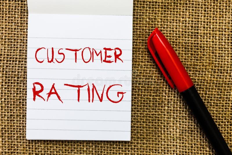 手写文本用户额定值 意味顾客的每点的概念丰富经验 库存照片