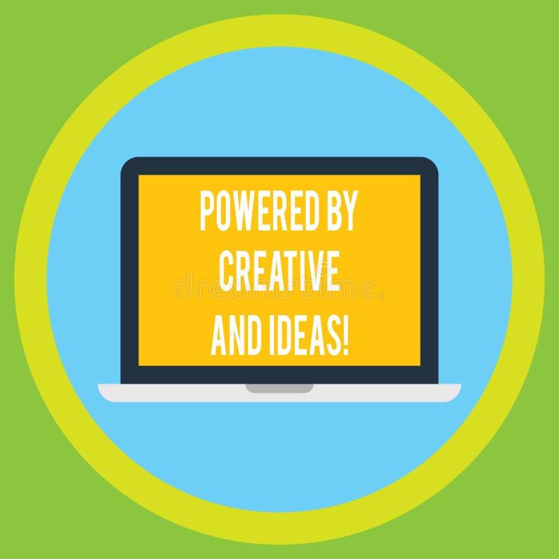 手写文本由创造性和想法供给了动力 概念意思强有力的创造性创新好能量膝上型计算机 皇族释放例证