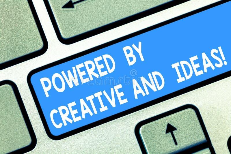 手写文本由创造性和想法供给了动力 概念意思强有力的创造性创新好能量键盘键 图库摄影