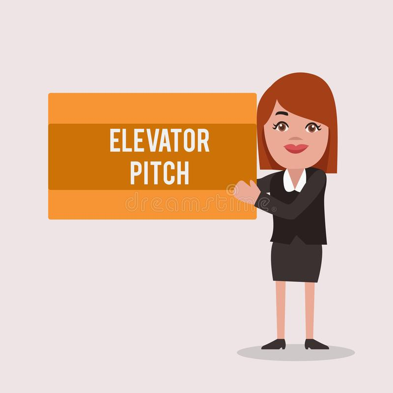 手写文本电梯沥青 意味A令人信服的销售摊点摘要讲话关于产品的概念 库存例证