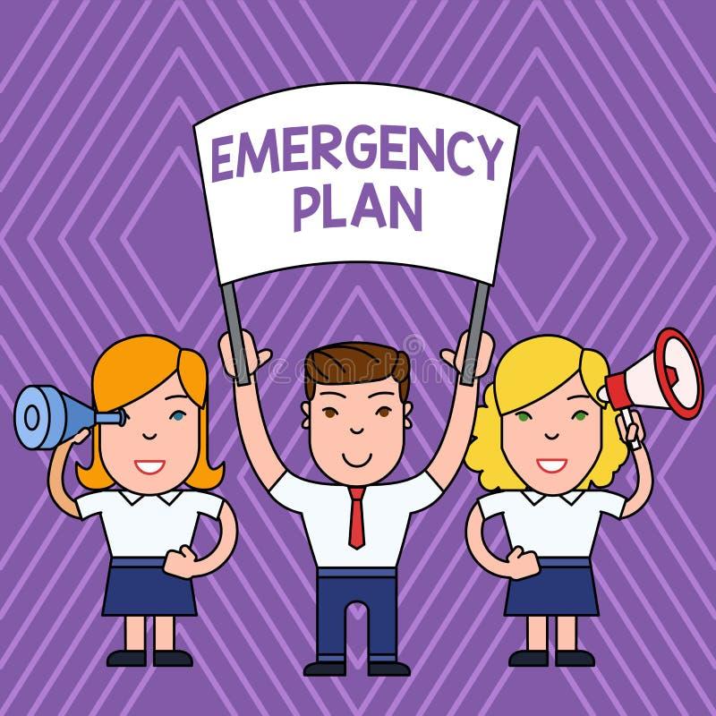 手写文本紧急办法 意味反应的概念做法对主要的紧急事件是准备的人与 向量例证