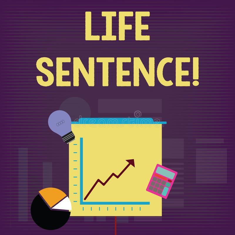 手写文本终身监禁 意味被投入的处罚的概念在一种非常很长时间投资的监狱 向量例证