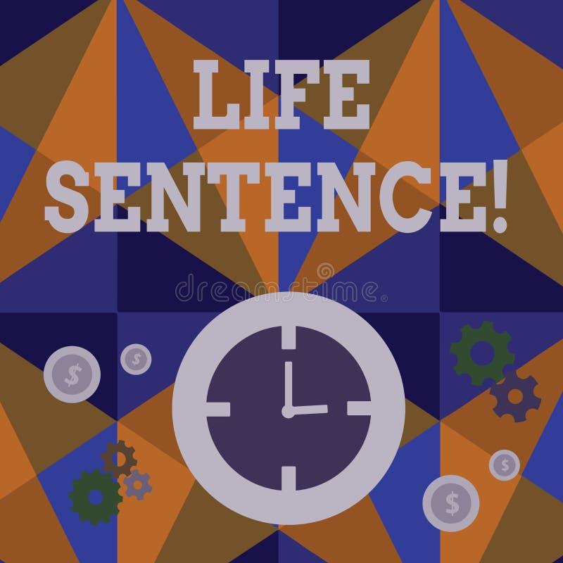 手写文本终身监禁 意味被投入的处罚的概念在监狱非常很长时间时间 向量例证