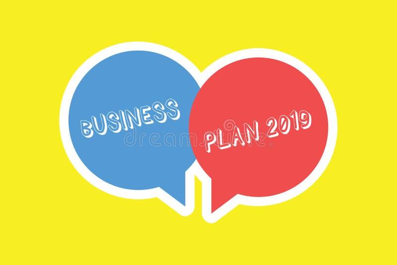 手写文本经营计划2019年 意味富挑战性企业想法和目标的概念新年 库存例证