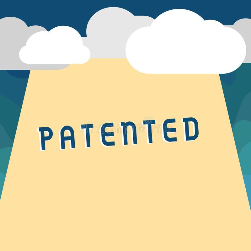 手写文本给予了专利 概念意思的发明或过程商谈被保护的正确的公文 库存例证