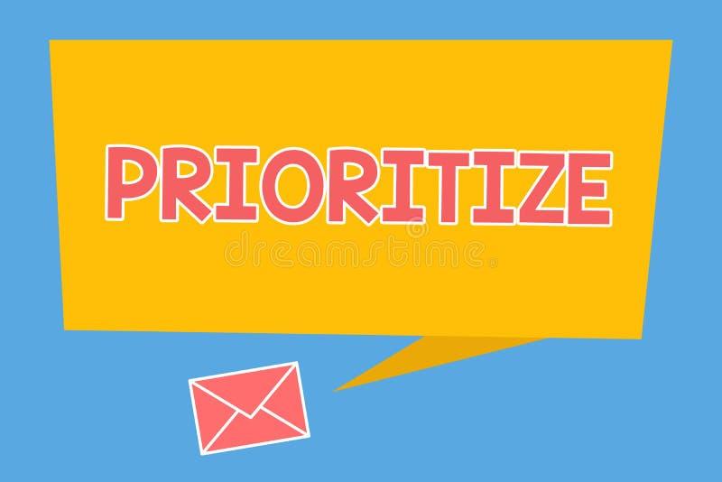 手写文本给予优先 概念意思组织指定或款待某事作为是更加重要的 向量例证