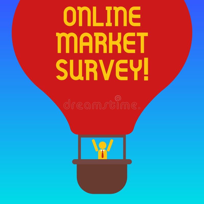 手写文本网上市场调查 意味的概念收集信息重要对市场研究胡分析 库存例证