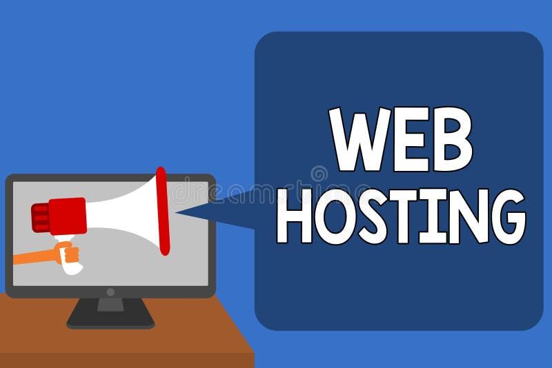 手写文本网络主持 概念意味提供的仓库面积的活动和通入为网站供以人员举行Megaphon 库存例证