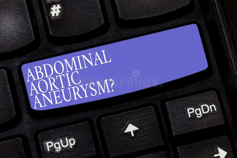 手写文本胃肠大动脉Aneurysmquestion 概念的意思认识主动脉键盘的扩大 库存图片