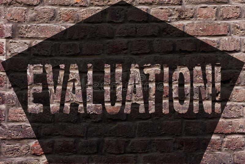 手写文本评估 意味评断反馈的概念评估某事的质量perforanalysisce砖 库存例证
