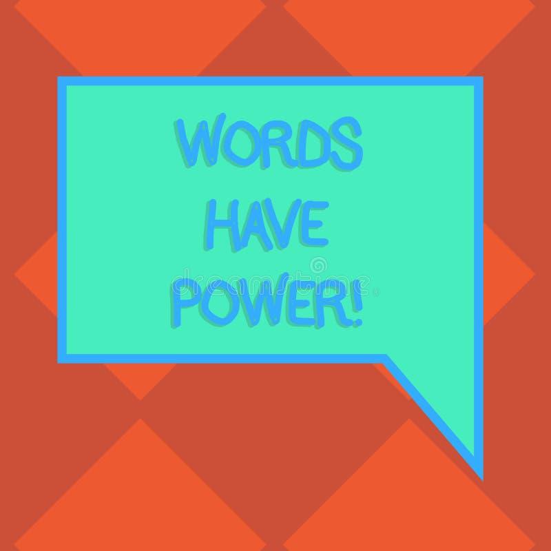 手写文本词有力量 意味您说的声明的概念有能力改变您的现实空白 向量例证