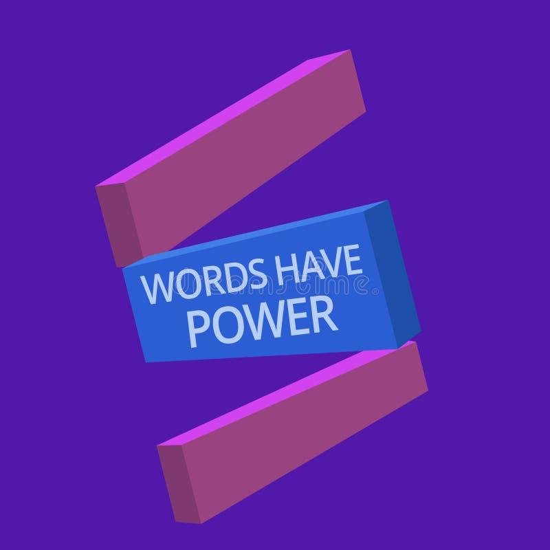 手写文本词有力量 概念意思能量能力愈合更加后面的帮助贬低并且欺凌 库存例证