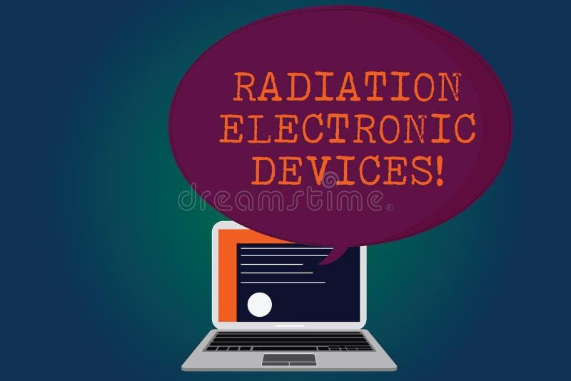 手写文本辐射电子设备 概念电子设备证明散发的意思射频 库存例证