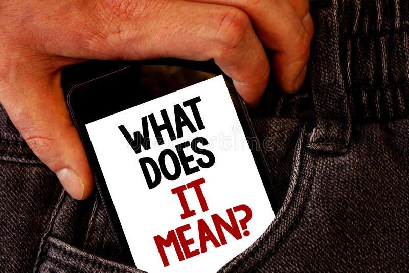 手写文本这是什么意思问题 概念意思混乱求知欲问询问布朗牛仔裤后面口袋手 库存照片