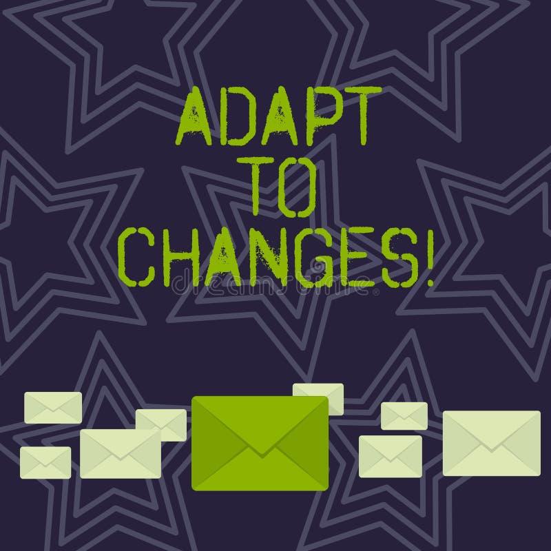 手写文本适应变动 顺利地意味变化您的行为在与它的命令成交上的概念淡色 向量例证