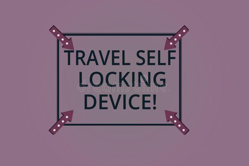 手写文本锁设备的旅行自已 保护您的在旅行方形的概述的概念意思行李锁行李与 库存例证