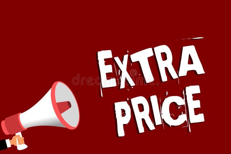 手写文本附加价格 意味在普通的大程度人之外的概念附加价格定义拿着扩音机loudsp 免版税库存照片