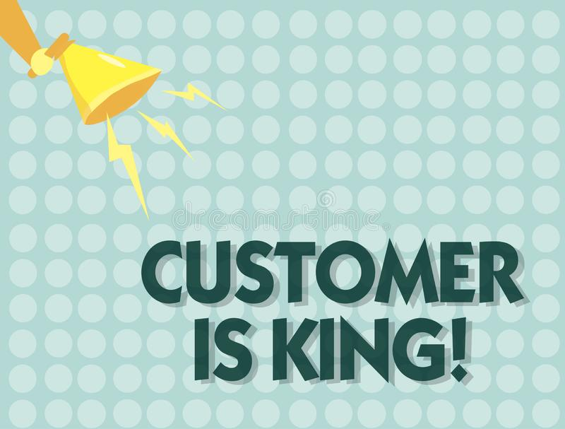 手写文本顾客是国王 概念殷勤意思服务和迫切地适当地提供需要 皇族释放例证