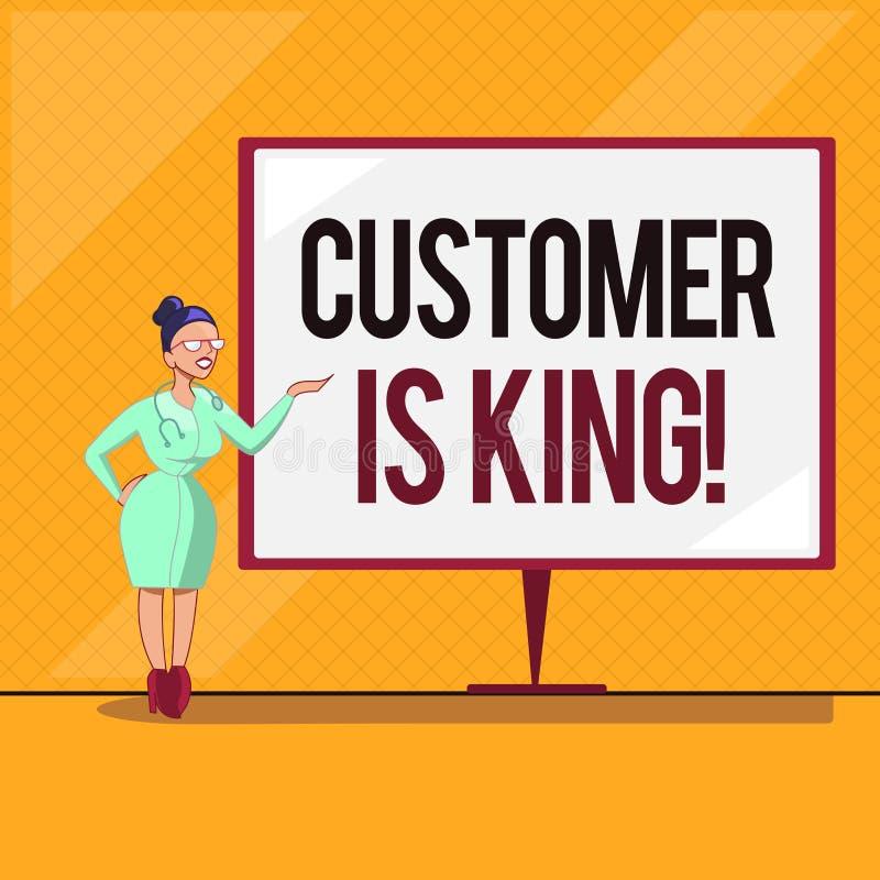 手写文本顾客是国王 概念殷勤意思服务和迫切地适当地提供需要 向量例证