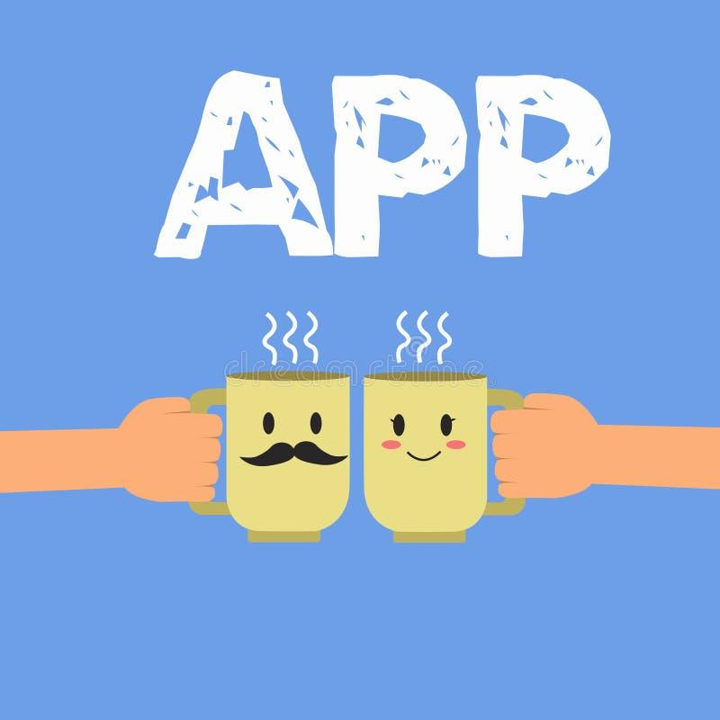 手写文本App 概念意思计算机程序由一名用户的下载软件一个移动设备的 皇族释放例证