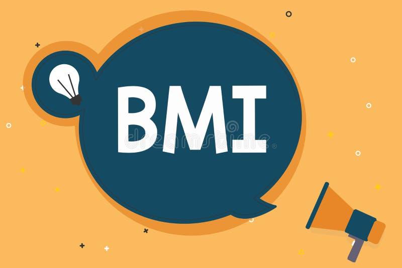 手写文本Bmi 概念估计根据重量和高度的体脂肪水平意思方法  皇族释放例证