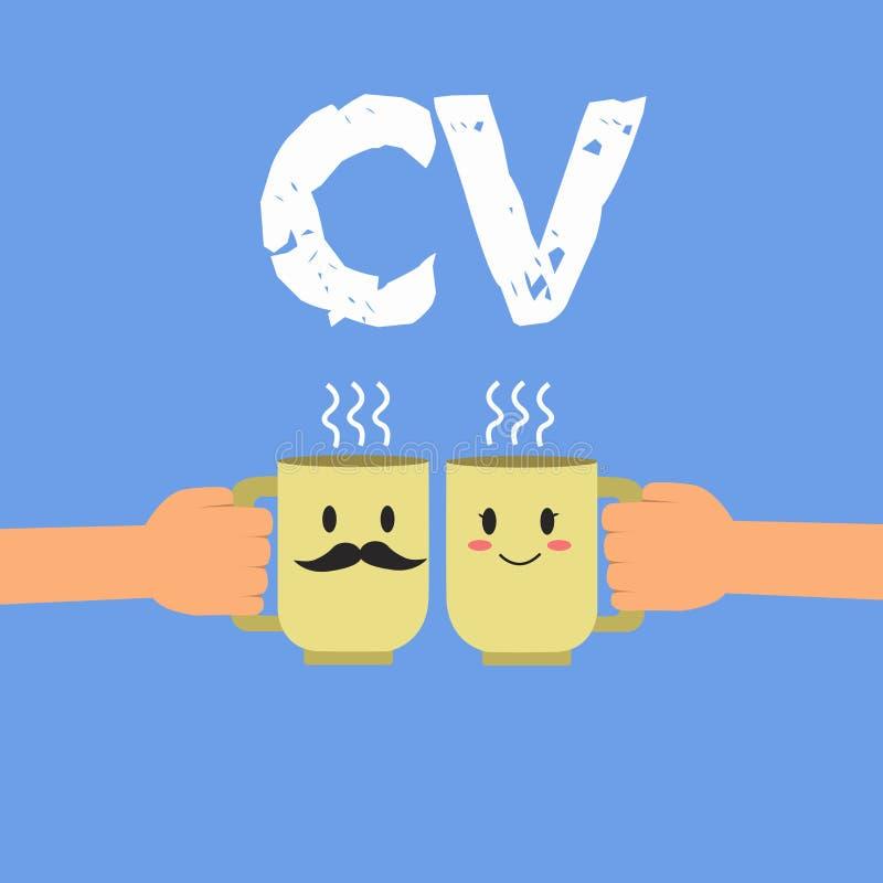 手写文本Cv 概念意思求职者生活体验教育达到技能和专门技术 向量例证