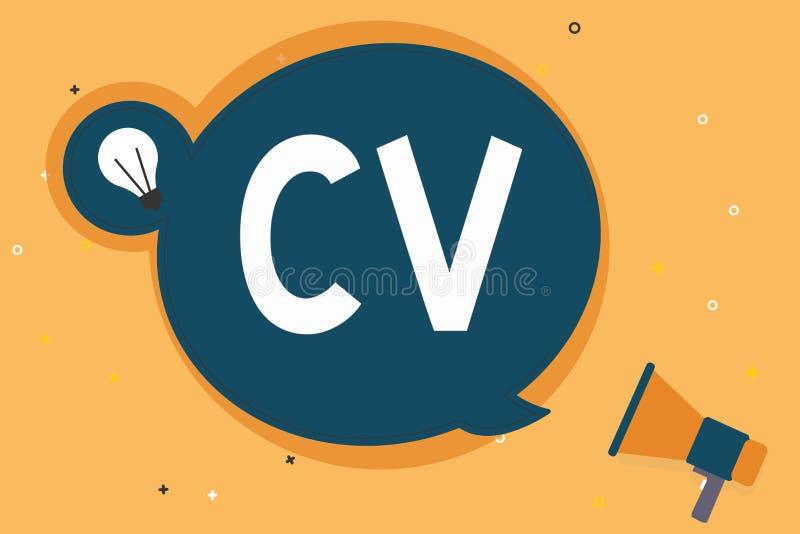 手写文本Cv 概念意思求职者生活体验教育达到技能和专门技术 皇族释放例证