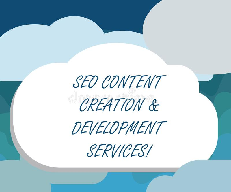 手写文本Seo美满的创作和发展服务 概念意思搜索引擎优化空白 向量例证
