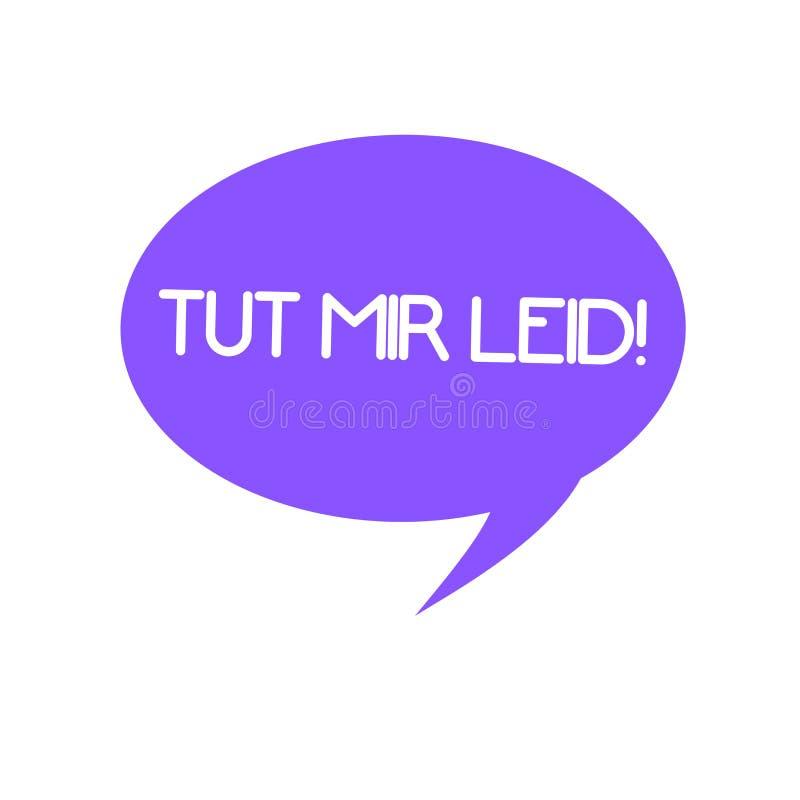 手写文本Tut Mir Leid 概念意思请求饶恕什么从前做了 库存例证