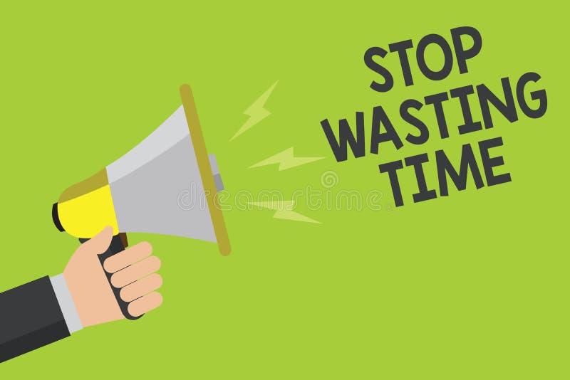 手写浪费时间的文本中止 概念意思组织的管理日程表让做它现在开始公告 皇族释放例证