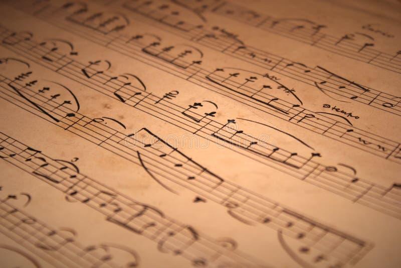 手写的乐谱 库存图片