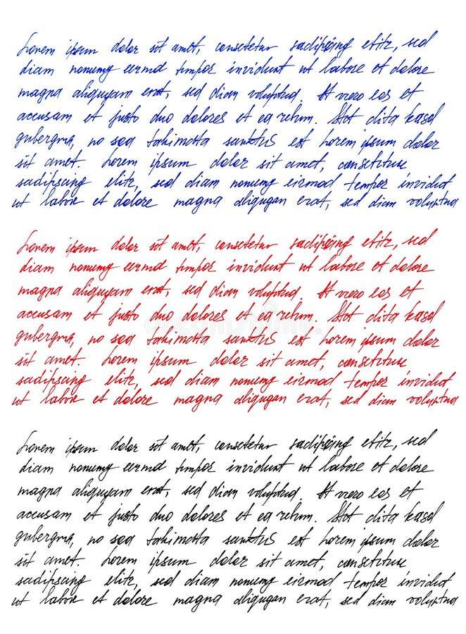 手写的信件拉丁文本Lorem ipsum手写Calligraph 库存照片