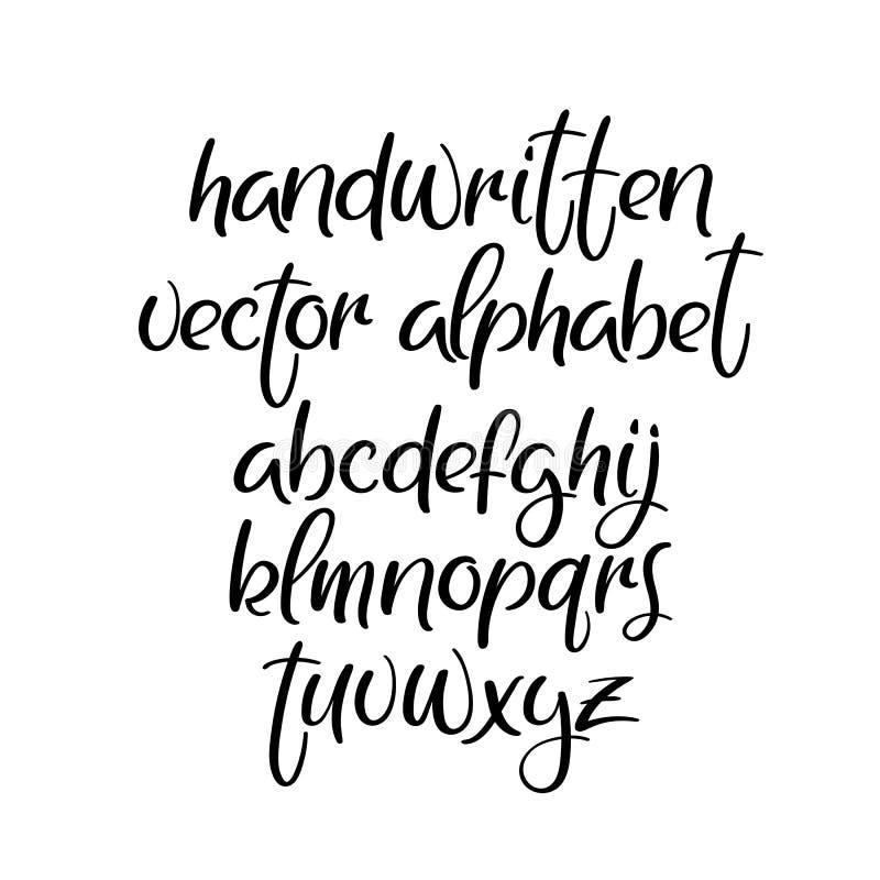 手写的刷子字体 Brushpen传染媒介字母表 现代书法abc 查出 向量例证
