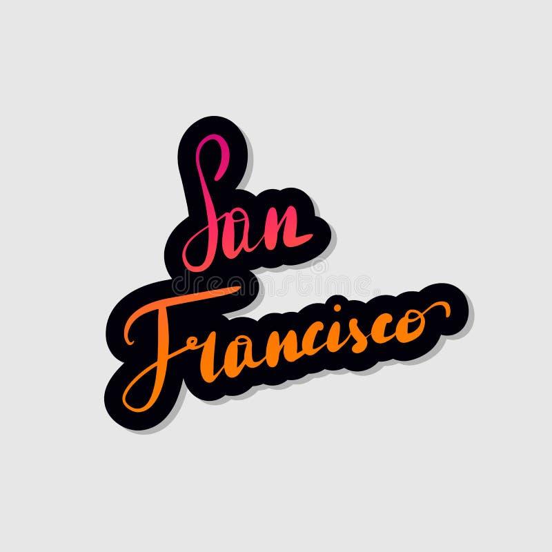 手写的在上写字的印刷术旧金山 向量例证