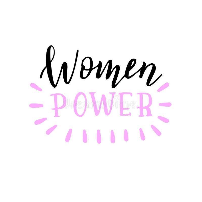 手写的妇女力量口号 时髦在上写字的海报 向量例证
