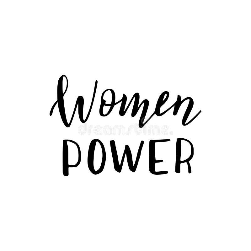 手写的妇女力量海报 在时髦字法的女权口号 皇族释放例证