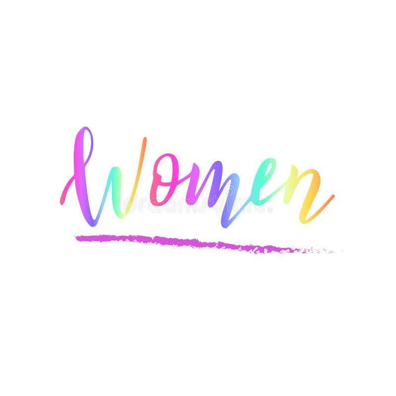 手写的妇女文本 女性变化的概念 女权行情 贴纸或衣裳打印 向量例证