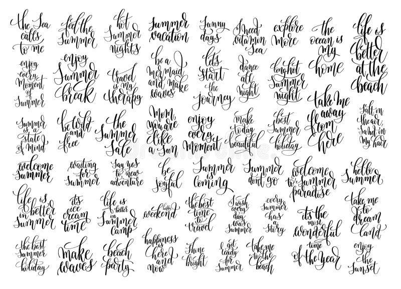 50手写的字法正面行情关于夏天 库存例证