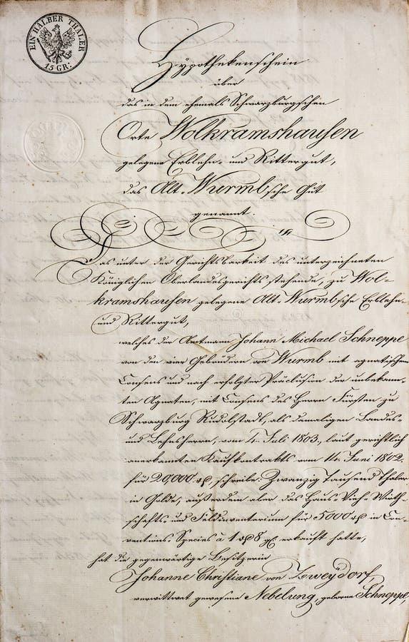 手写的文本。古色古香的原稿。葡萄酒信件 图库摄影