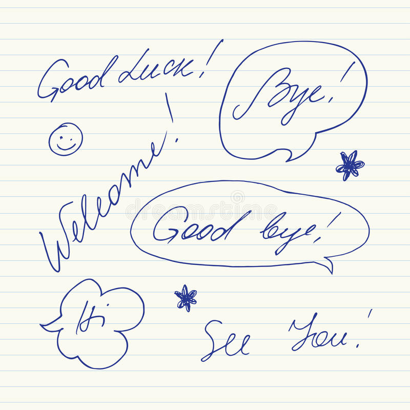 手写的短的词组 好运,再见,欢迎,再见,喂,看见您 向量例证