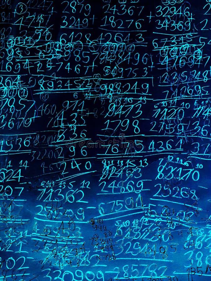 手写的算术演算蓝色例证背景  库存图片