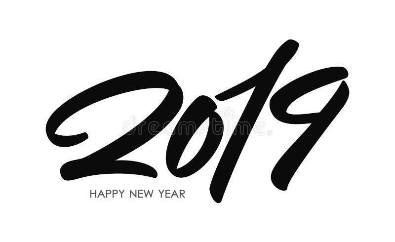 手写的类型字法猪的2019个新年 在白色背景的黑手拉的数字 印刷术设计 向量例证