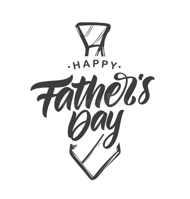 手写的类型愉快的父亲节字法构成与手拉的领带的在白色背景 皇族释放例证