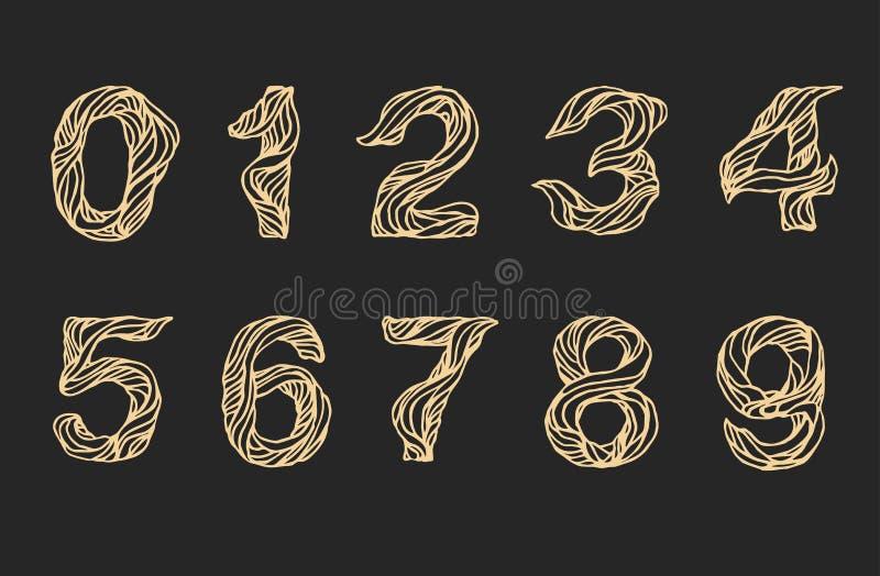 手写的线性数字,传染媒介剧本书法数字 手拉的稀薄的信件数字,乱画图片