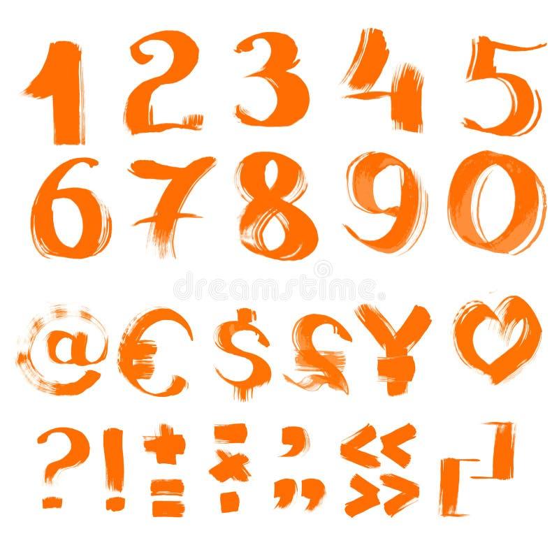 手写的织地不很细画笔符号和编号 皇族释放例证