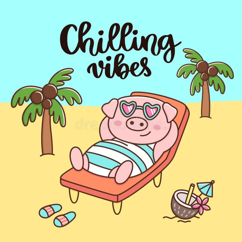 手写的词组:使变冷的震动 在泳装和玻璃的猪,当椰子鸡尾酒,基于海滩 向量例证