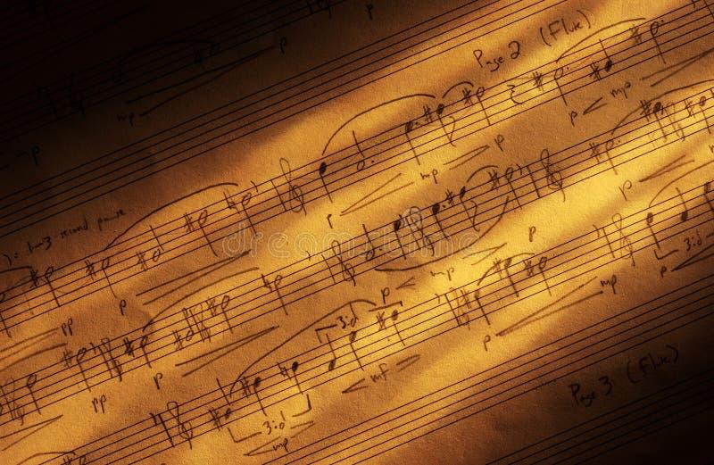 手写的音乐纸张 库存例证